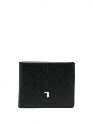 Бумажник с логотипом Trussardi. Цвет: черный
