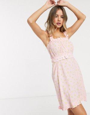 Розовое летнее платье мини с поясом и цветочным принтом Faithfull-Розовый Faithfull the Brand