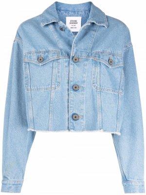 Укороченная джинсовая куртка с логотипом Opening Ceremony. Цвет: синий