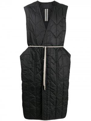 Удлиненный стеганый жилет Rick Owens. Цвет: черный