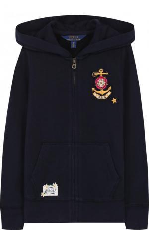 Спортивный кардиган на молнии с капюшоном Polo Ralph Lauren. Цвет: синий