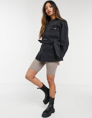 Черная джинсовая куртка с поясом и широкими рукавами -Черный цвет Vero Moda