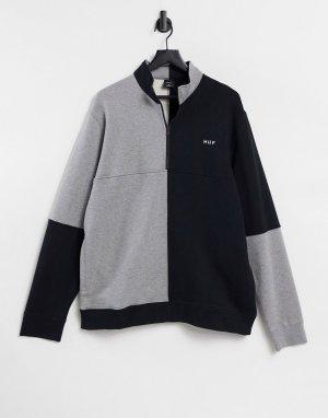 Черно-серый флисовый свитшот в стиле колор-блок на короткой молнии -Черный цвет HUF