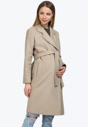 Пальто Modress. Цвет: бежевый
