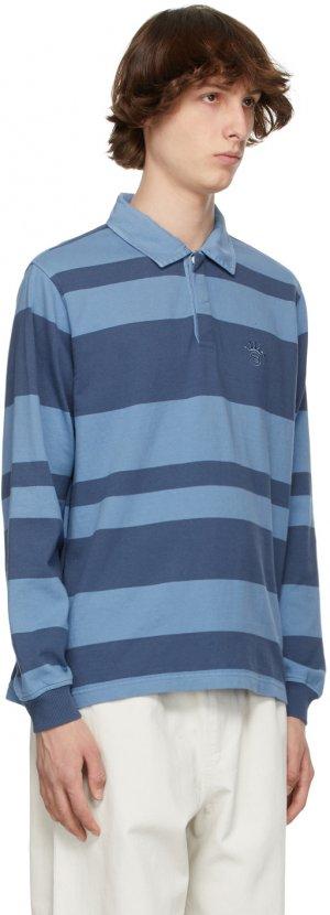 Blue Stripe 2-Tone Rugby Long Sleeve Polo Stüssy. Цвет: blue