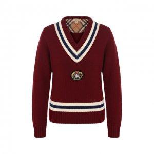 Пуловер из смеси шерсти и кашемира Burberry. Цвет: красный