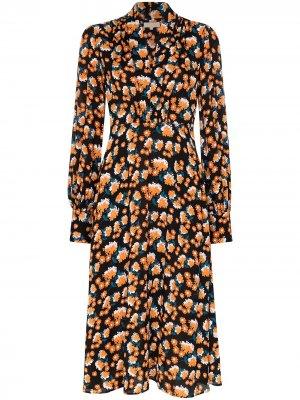 Платье миди с длинными рукавами и V-образным вырезом byTiMo. Цвет: черный