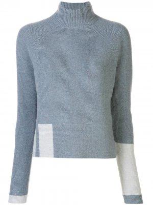 Кашемировый джемпер в рубчик с высоким воротником DUFFY. Цвет: синий