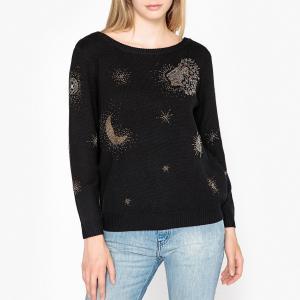 Пуловер с круглым вырезом из тонкого трикотажа бусинами и стразами ORIGAMI BA&SH. Цвет: черный