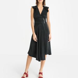 Платье атласное с запахом BA&SH. Цвет: телесный,черный