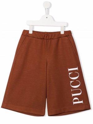 Шорты с логотипом Emilio Pucci Junior. Цвет: коричневый