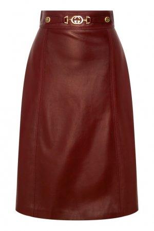 Бордовая кожаная юбка миди Gucci. Цвет: бордовый