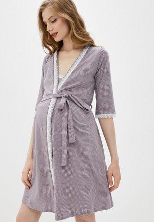 Халат и сорочка ночная Hunny mammy. Цвет: фиолетовый