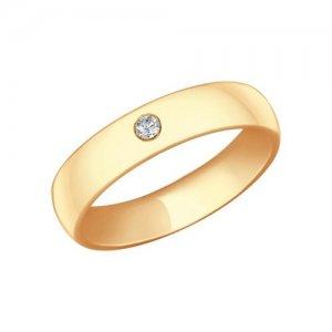 Обручальное кольцо из золочёного серебра с фианитом SOKOLOV