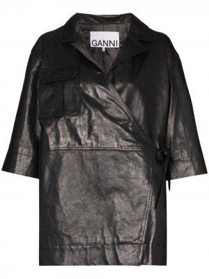 Куртка с запахом GANNI. Цвет: черный