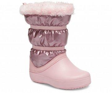 Зимние сапоги для девочек CROCS Girls' Crocband™ LodgePoint Metallic Winter Boot Rose Gold арт. 205829. Цвет: rose gold metallic