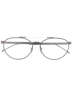 Очки в овальной оправе Thom Browne Eyewear. Цвет: серый