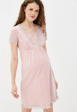 Платье домашнее Fest для кормления. Цвет: розовый