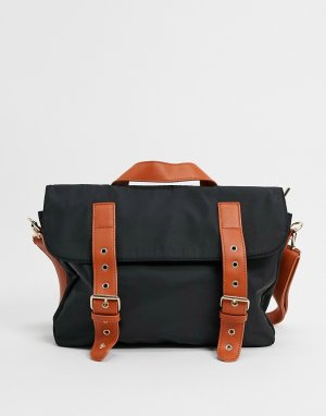 Черная нейлоновая сумка-портфель с контрастным ремешком London-Черный My Accessories