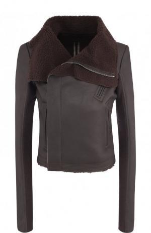 Кожаная куртка на меховой подкладке Rick Owens. Цвет: темно-серый