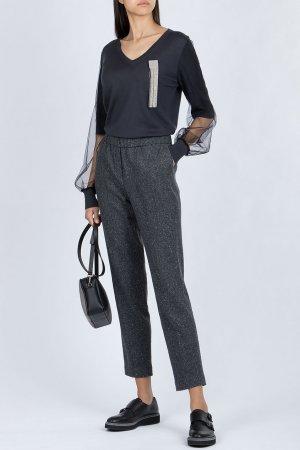 Кашемировый пуловер с прозрачными вставками Fabiana Filippi