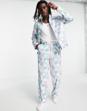 Классические брюки пастельного голубого цвета с широкими штанинами и пальмовым принтом от комплекта -Голубой ASOS DESIGN