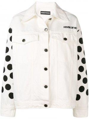 Джинсовая куртка в горох House of Holland. Цвет: белый