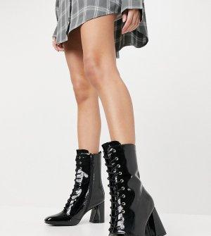 Черные лакированные ботильоны со шнуровкой на каблуке для широкой стопы -Черный цвет Glamorous Wide Fit