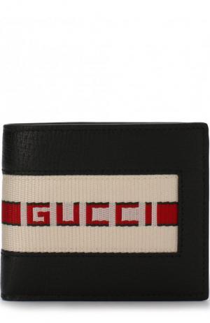 Кожаное портмоне с отделениями для кредитных карт Gucci. Цвет: черный
