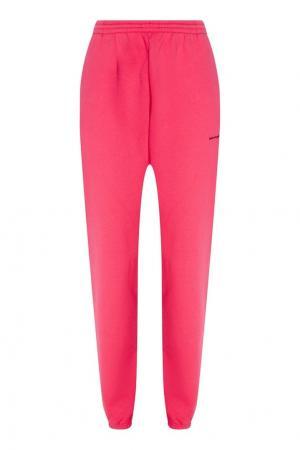Розовые хлопковые брюки Balenciaga. Цвет: розовый