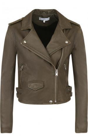 Укороченная кожаная куртка с косой молнией Iro. Цвет: хаки