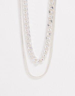 Ярусное серебристое ожерелье -Серебряный ASOS DESIGN