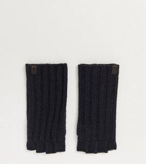Черные меланжевые перчатки без пальцев в рубчик -Черный цвет AllSaints