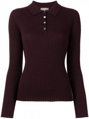 Кашемировая рубашка поло в рубчик N.Peal. Цвет: красный