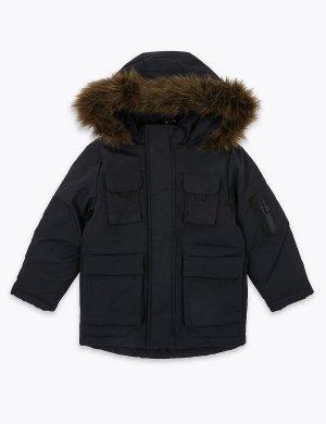 Парка с капюшоном и отделкой Stormwear ™ Marks & Spencer. Цвет: черный