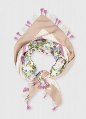 Платок с цветочным принтом O`Stin. Цвет: кремовый