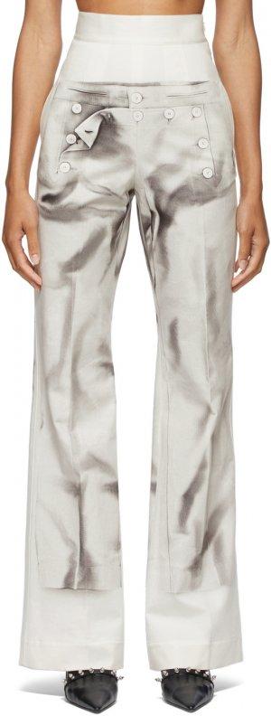 SSENSE Exclusive Off-White Les Marins Trompe Loeil Bridges Trousers Jean Paul Gaultier. Цвет: 0100-white/black