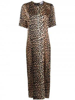 Длинное платье с леопардовым принтом GANNI. Цвет: коричневый