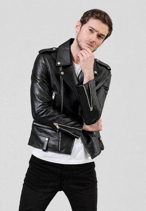 Куртка кожаная Angelo Bonetti. Цвет: черный