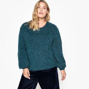 Пуловер с круглым вырезом из плотного трикотажа CASTALUNA. Цвет: светло-серый меланж,сине-зеленый