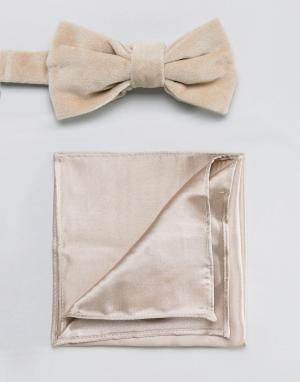Бархатный галстук-бабочка и атласный платок для пиджака Devils Advocate. Цвет: коричневый