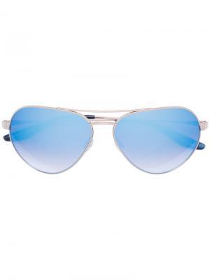 Солнцезащитные очки в круглой оправе Barton Perreira. Цвет: синий