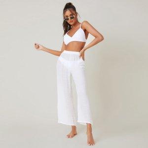 Однотонные прозрачные пляжные брюки SHEIN. Цвет: белый