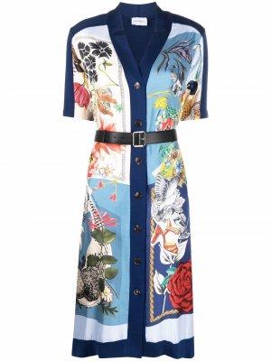 Платье-рубашка с принтом Salvatore Ferragamo. Цвет: синий