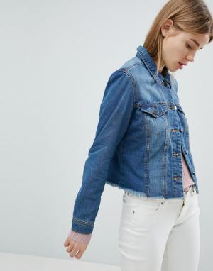 Джинсовая куртка с необработанным краем JDY. Цвет: синий