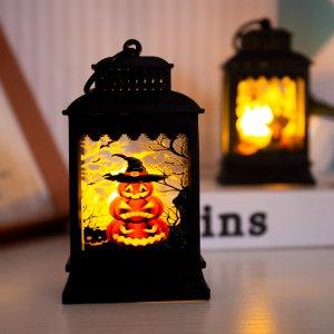 1шт Декоративный свет на хэллоуин с принтом тыквы SHEIN. Цвет: жёлтые