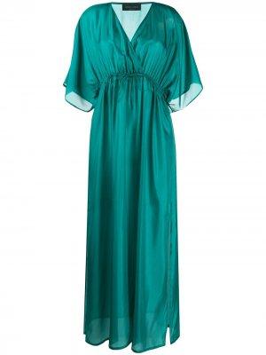 Атласное платье ампирного силуэта Roberto Collina. Цвет: зеленый