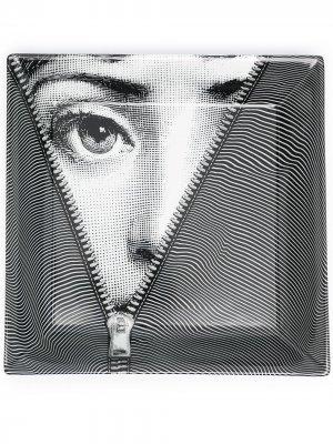 Керамическая пепельница с принтом Lina Cavalieri Fornasetti. Цвет: черный