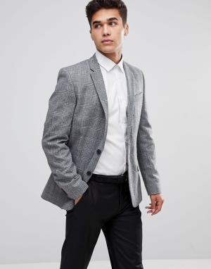 Серый блейзер в крупную клетку New Look. Цвет: серый