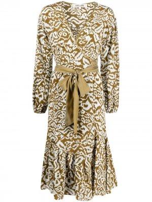 Платье Patricia с леопардовым принтом DVF Diane von Furstenberg. Цвет: зеленый